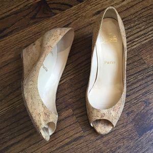 Christian Louboutin beige cork wedge shoes heels 8